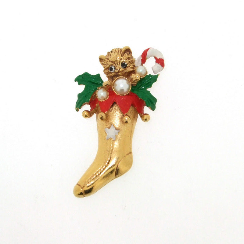 Butler & Wilson Brooch -Christmas Cat in Stocking