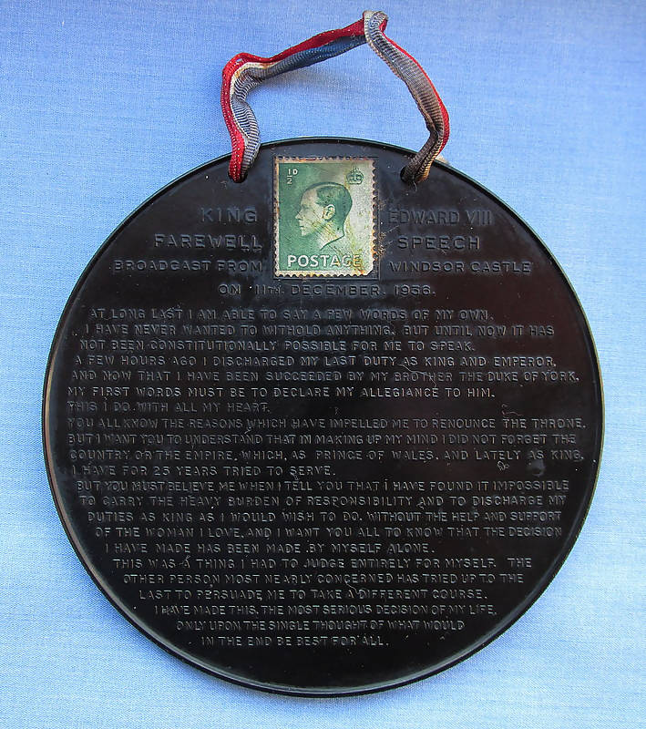 Vintage 1936 Bakelite Plaque Of Edward VIII's Abdication Speech Broadcast From Windsor Castle