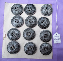 12 Medium Antique/Vintage Celluloid Pearlescent Silver Grey Buttons on Original Shop Card