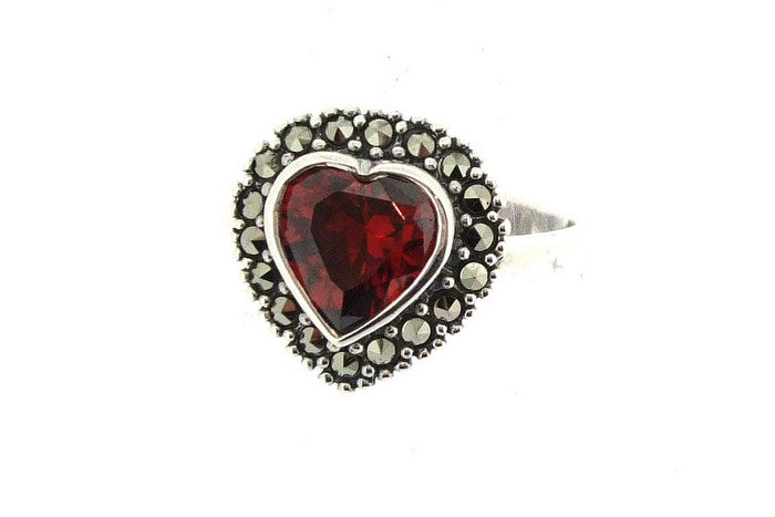 Silver Marcasite Red Heart Ring