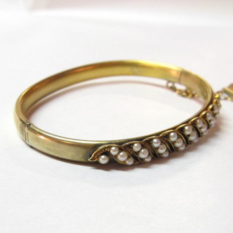 Victorian Gold and Pearl Bangle