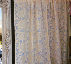 """Acanthus fawn"" Antique Style Madras Cotton Lace Curtain Panel - 42 x 29 Inches -Ready-made"