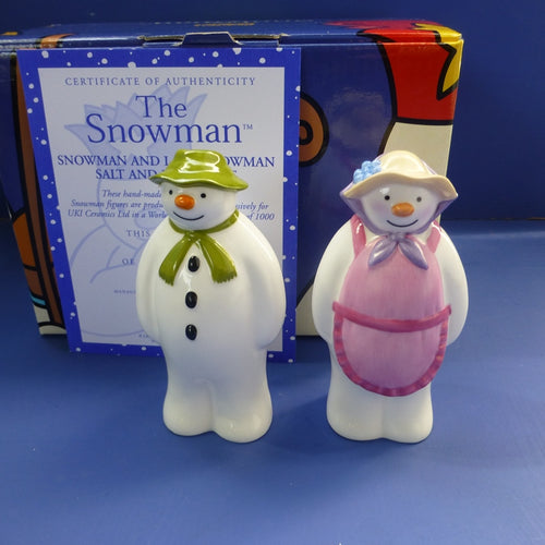 Coalport Limited Edition Snowman and Lady Snowman Salt and Pepper Set (Boxed)