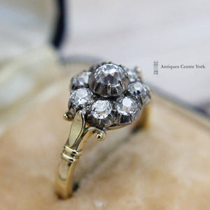 18ct Old Cut Diamond Cluster Ring 1.35cts