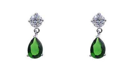 Emerald Green Silver Crystal Earrings