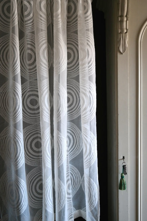 Circles funky - contemporary Style Madras Cotton Lace Curtain Panel readymade 68