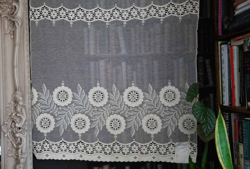 """Mara "" Vintage Arts & Crafts Design Scottish Cream Lace Curtain Panel - 32 x 36 Inches"