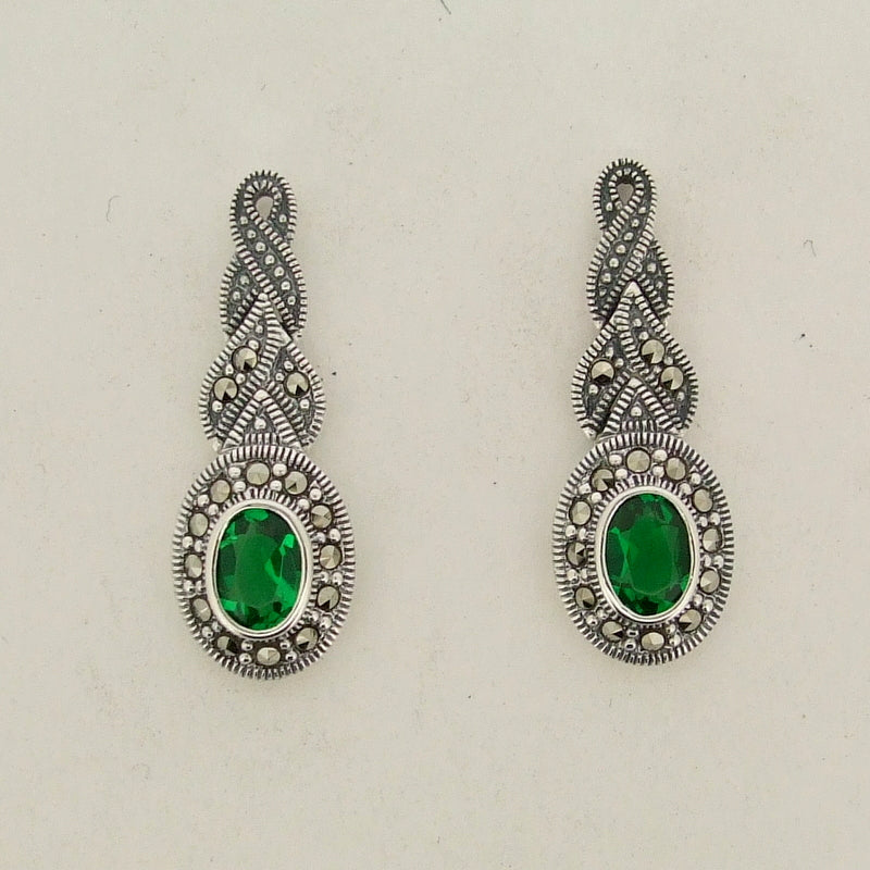 Silver Marcasite Emerald Green Earrings