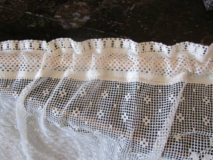 Gustavian Polka Dot- A Pair Of Vintage Design White Cotton Lace Swag Panels- 46 Inches Wide