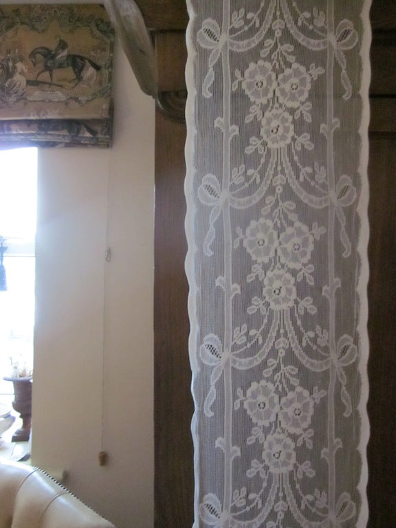 """Olivia highland rose"" Antique Victorian style Cotton Lace Curtain Panelling Sold By The Metre - 12 Inches Wide"