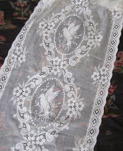 """Lovebirds Cameo"" Period white Cotton Lace Curtain Panel readymade 23""x 33"""