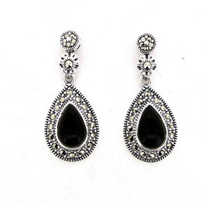 Silver Black Marcasite Earrings