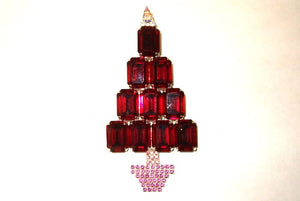 Large Red Christmas Tree Brooch