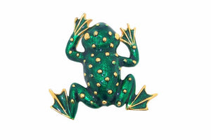 Frog Brooch Green enamel