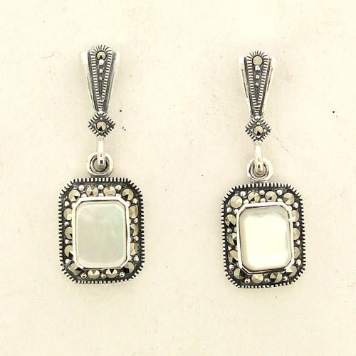 Silver Marcasite Mother of Pearl Earrings