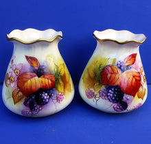 Royal Worcester Pair of Fruit Vases Signed by Michelin Miller