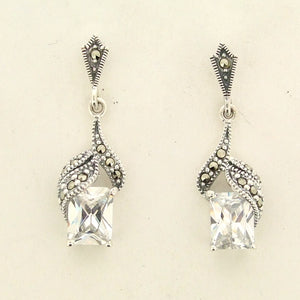 Silver Marcasite Cubic Zirconia Earrings
