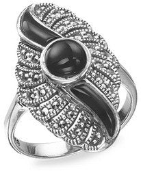 Silver Marcasite Black Art Deco Ring