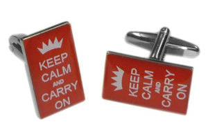 Keep Calm and Carry On Red Cufflinks