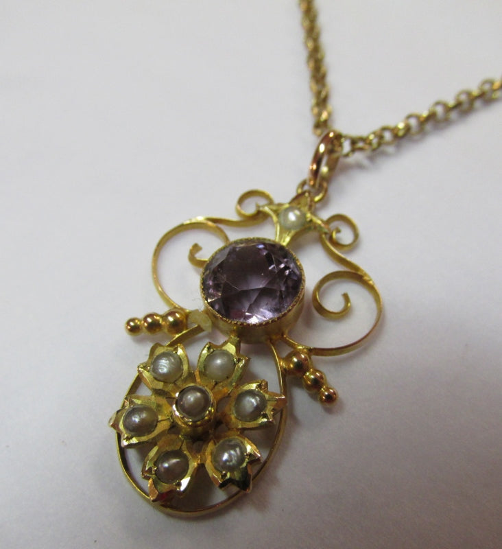 9ct Gold Amethyst Pearl Pendant