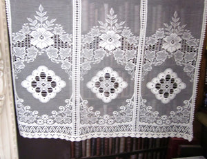 """Victoria"" Vintage Heritage Design Cream Pair Of Cotton Lace Curtain Panels - 34 x 34 Inches"