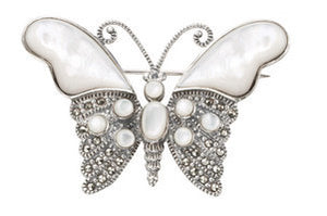 Silver Marcasite Mother of Pearl Butterfly Brooch Pin