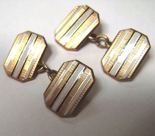 1920's Vintage 9ct Gold and Enamel Cufflinks
