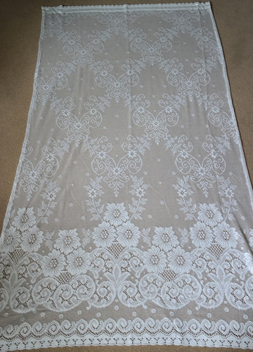 Victorianna Rose - C1900s design white Cotton Lace Curtain Panelling off the roll 72