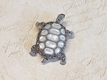 Tortoise Brooch Silver Mother of Pearl Marcasite Pin Pendant