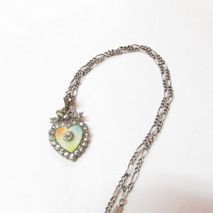 Antique Edwardian Silver Paste and Enamel Heart Pendant