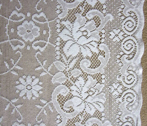 "Victorianna- Victorian Style White Cotton Lace sash window Curtain Panel- readymade 36""/39"" long"