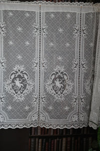 "Cherub angel superb Cream Cotton Lace Curtain Panelling Sold per vertical cherub 14.5"" width panel"