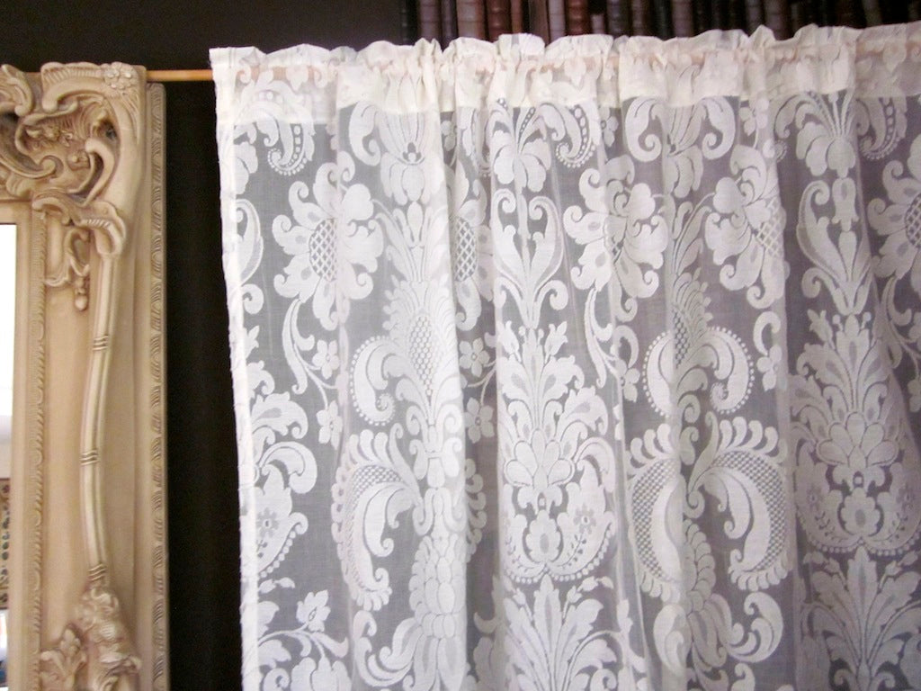 Anne Marie French Chateaux Acanthus damask- Antique Style Ivory Madras Cotton Lace Curtain Panel - 66 x 36 Inches- Ready-made