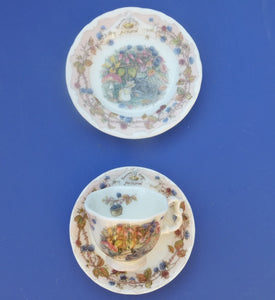 Royal Doulton Brambly Hedge Miniature Trio - Teacup, Saucer and Plate - Autumn by Jill Barklem (Boxed)