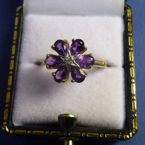9ct Gold Amethyst and Diamond Ring Size K +1/2