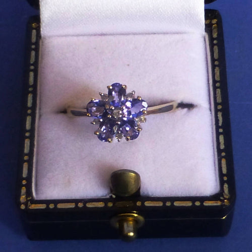 9ct Gold Tanzanite and Diamond Flower Ring Size M + 1/2