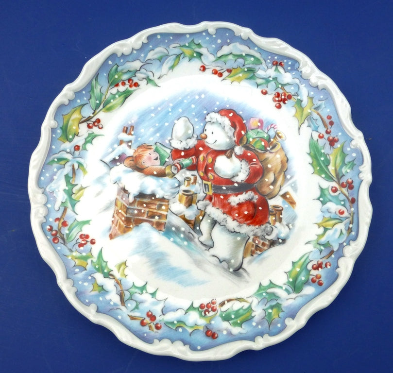 Royal Doulton Snowman Plate - The Snowman's Visit from the Series by Raymond Briggs