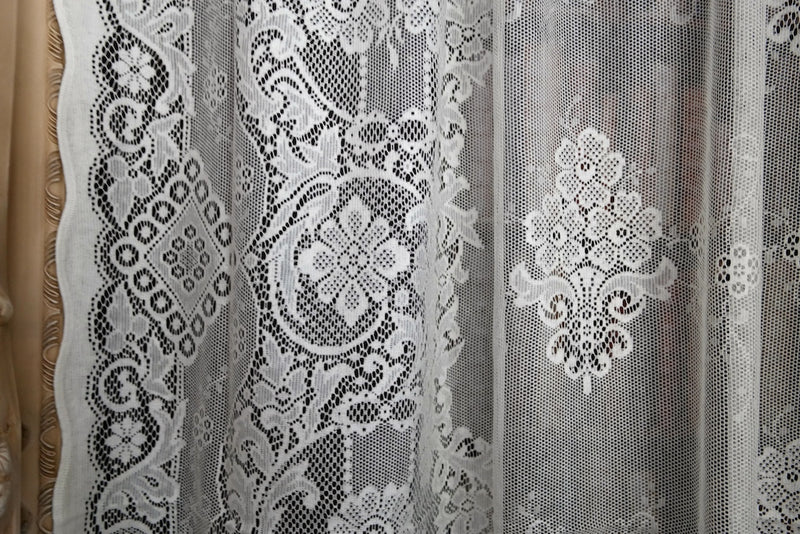 """Jessica"" Victorian Style white Cotton Lace Curtain Panel Ready To Hang - 58"" x 36"" 147 x 91cms"