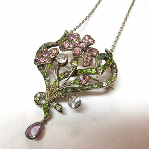 Original Art Nouveau Silver & Paste Basket of Flowers Brooch/Pendant