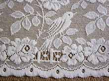 "Shabby Chic ""Doves"" Country Cottage Cotton Valance Lace Panelling in Cream 23"" yardage bise-bise"