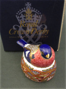 "Royal Crown Derby ""Bullfinch nesting"" paperweight"
