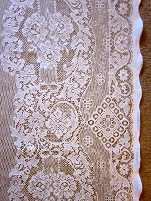 """Jessica"" Victorian Style cream Cotton Lace Curtain Panel ready to hang - 36"" x 30"""" 79cm"