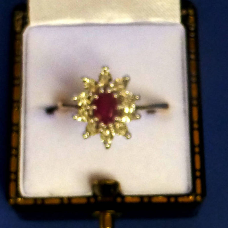 9ct Gold Ruby and Diamond Ring (0.05ct Diamond) Size N