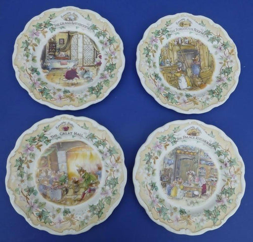 Royal Doulton Brambly Hedge Secret Staircase Plates (Set of 4 Plates) Palace Kitchens. Forgotten Room, Great hall, Grand Bathroom