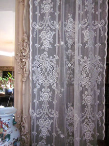Highland Rose Olivia- Victorian Style Cream Cotton Lace Curtain Panelling By The Metre- Width 130 cms