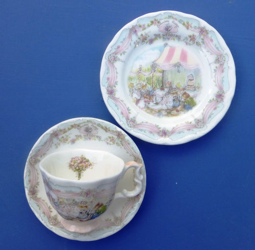 Royal Doulton Brambly Hedge Miniature Trio - Teacup, Saucer and Plate - The Wedding