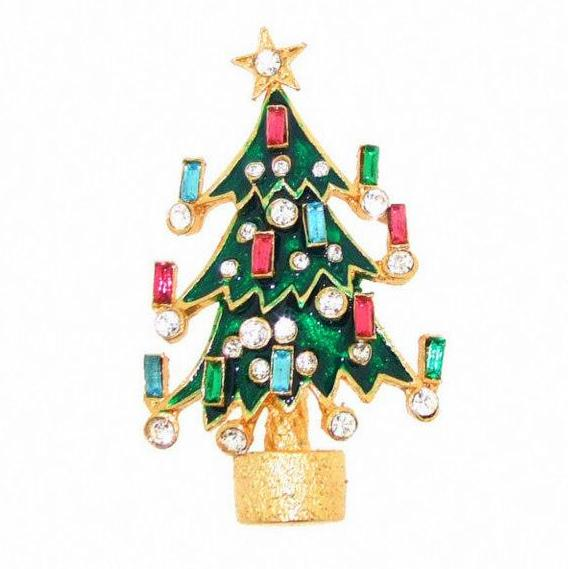 Christmas Tree Brooch Enamel