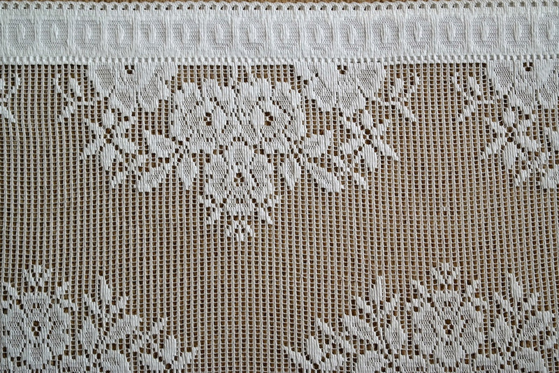 "Scalloped Country cottage valance in cream 12"" - sold per metre wide 1m"
