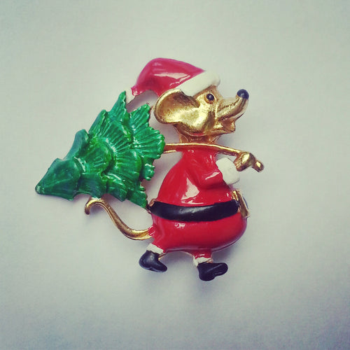 Butler & Wilson Christmas Tree Mouse Brooch Pin