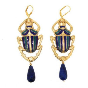 Gold Enamel Lapis Scarab Earrings by Jess Lelong